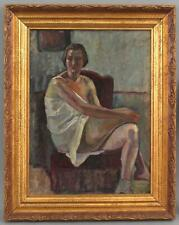 Antique GARI MELCHERS French-American Impressionist Portrait Oil Painting Woman