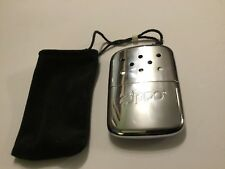 Zippo Silver Tone Metal Hand Warmer With Pouch Unused