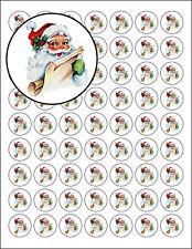 "63 Christmas Card Envelope Seals Santa Reading Naughty List 1"" Round Labels"