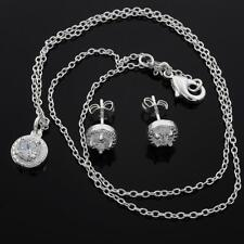 925  Sterling Silver CZ Halo Stud Earrings & Necklace 45mm + Bag