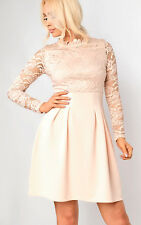 Womens Ladies Stunning Lace Floral Celeb Inspired Party Skater Dress Formal Prom