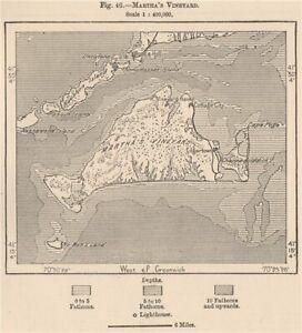 Martha's Vineyard. Massachusetts 1885 old antique vintage map plan chart