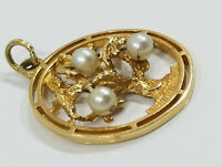 Vintage 14K Gold ~PEARL TREE OF LIFE~ Charm Pendant 6.1grams