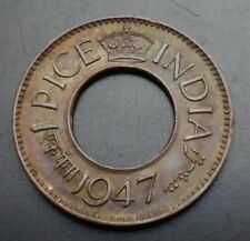 India British 1 Pice 1947. KM#533. One Cent Penny coin. George VI. Hole.