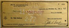 Theo Bamberg, Okito, Magician, Signed Check, Chicago 1956