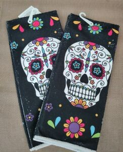 Halloween Holiday Party Day of Dead Sugar Skull Kitchen Towels Set of 2