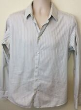 KENNETH COLE NEW YORK L-Sleeve Dress Striped Shirt Sz M - Made In Italy