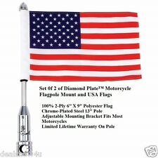 2 of Diamond Plate Motorcycle Flagpole Mount and USA Flags Mount on Car SUV Van