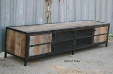 Vintage Industrial Media Console. Steel/Reclaimed Wood. Rustic, Retro. Buffet.