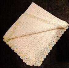 HAND MADE Crochet WHITE Baby Crib Blanket Afghan