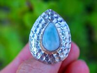Dominican Larimar set in Hammered 925 Sterling Silver Ring size 8.5