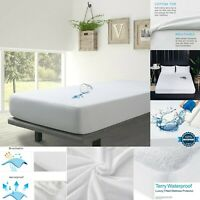 White Fitted Sheet Waterproof Mattress Protector 100% Cotton Double King Size