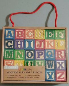 2x LEARN & PLAY WOODEN ALPHABET BLOCKS  26 COUNT each, NEW
