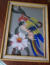 Vintage Retro  40s 50s Tiki Parrot Painting on Silver Foil Paper In Bamboo Frame