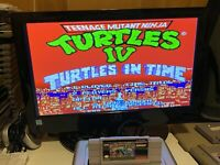 🔥💯 WORKING SUPER NINTENDO SNES GAME CARTRIDGE 🐢 TMNT IV TURTLES IN TIME 🐢