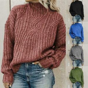 New Warm Turtleneck Knitted Pullover Women's Color Knit Sweaters O8H3