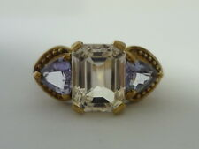 Stunning Large Unusual Kunzite & Tanzanite 9K Gold Ring Size O
