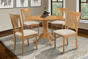 "42"" BURLINGTON DINETTE DINING TABLE SET WITH 9"" DROP LEAVES in OAK FINISH"