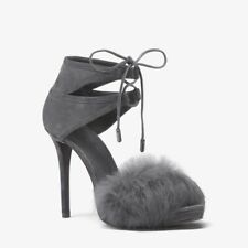Michael Kors Remi Fur and Suede Sandal Size 8 Charcoal Gray