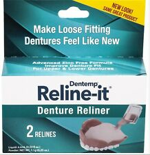 Dentemp DOC Denture RELINER RELINE IT - 2 repairs / box ( 1 box )  NEW LOOK!
