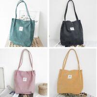 Women Durable Canvas Tote Large Capacity Handbag Corduroy Casual Shoulder Bag UK