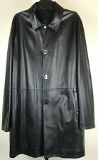 100% Authentic SALVATORE FERRAGAMO Leather Coat Jacket Black Size 54/44 Italy