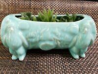 Vintage Shawnee Aqua Art Pottery Log & Gnomes Planter