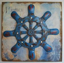 3D Metallbild Wandbild Objektbild Maritim Nautic Steuerrad Boot Vintage handmade