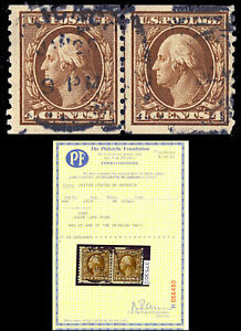 446 Used 4¢ Coil Line Pair - VF With PFC Certificate Cat $1,250.00 - Stuart Katz