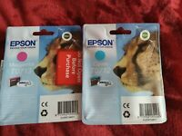 Epson t0713 and t0712 magenta, cyan new unopened, original ink cartridges