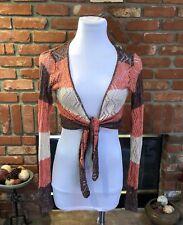 VTG BoHo Chic Sheer Cropped Bolero Shrug Tie Waist Shirt Top sz SM