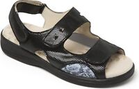 Padders Ladies Leather Extra Wide 3E/4E Fasteners Sandals Black GEMSTONE