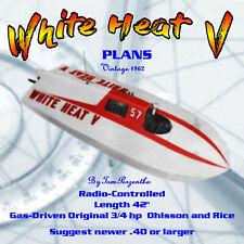 "Full Size Printed Plan Vintage 1952 White Heat V Hydroplane L 42"" 4 R/C"