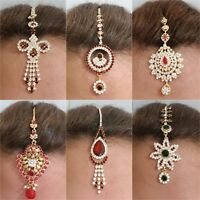 Indian Tikka Head Hair Jewellery  Diamante Stones Headpiece Gold Silver Chain