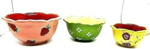 Vintage Pier 1 Imports Trio Of Hand Painted Earthenware Bowls