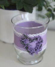 CLAYRE & EEF, Windlicht, Teelichthalter,  Glas, Lavendel - Herz, lila Stoffband