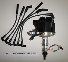 FORD Inline 6 Straight 6 cyl. 77-86 300 BLACK HEI Distributor & Spark Plug Wires