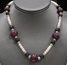 "18"" Pearl & Lapis & Ruby Necklace Custom Made Piece 66.3 Grams"