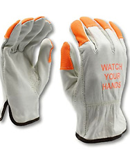 Ateret 12 Pairs Hi Vis Heavy Duty Durable Cowhigh Leather Work Gloves