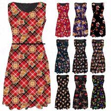 Christmas Viscose Sleeveless Dresses for Women