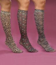 Women's ProFoot Fashion Knee Highs Leopard Lace Polka Dot Stockings 3 Pair Socks