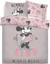 Childrens Disney Minnie Mouse 'One Of A Kind Double Duvet Cover Bedding Set Grey