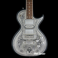 """Zemaitis Guitars A24MF Engraved Metal Front """"Aces and 8's"""" in Black"""