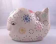 White Ceramic Whale Figurine With Multi-Colored Daisies Flowers
