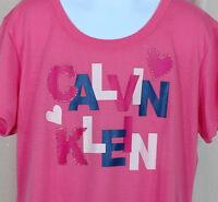 Calvin Klein Pink T Shirt Size 14 16 Girls Graphic Tee Child Short Sleeve EUC