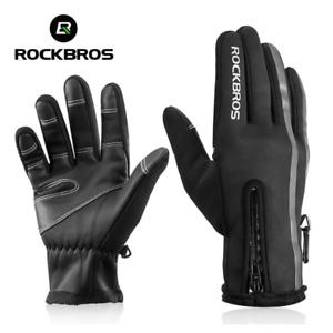 Rockbros Cycling Gloves Size L Black Reflector Non Slip Fleece Lined Zip BNWT