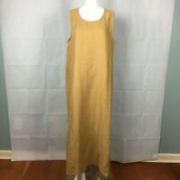 VANTANA Beige Linen Maxi Dress Sz L Tunic Lagenlook Simple Modest