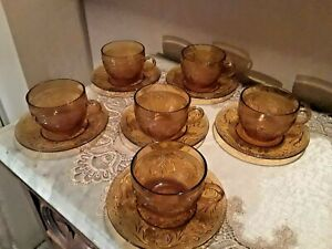 6 Sets Of Vintage Tiara Indiana Glass Co. Amber SANDWICH Tea Cups & Saucers