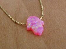 necklace, hand pendant, opal hamsa Hamsa necklace, gold necklace, opal hand