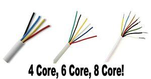 4, 6, 8 Core White Burglar Intruder Alarm Cable Multi Choice Of Core & Feet